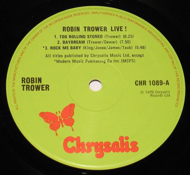 "Robin Trower Live! 12"" vinyl LP"