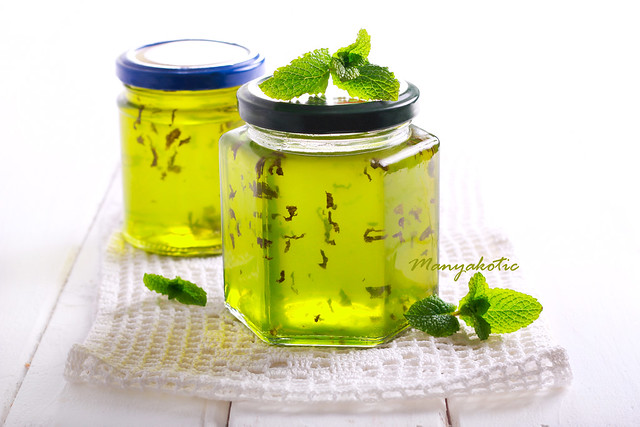 Mint jelly in jars