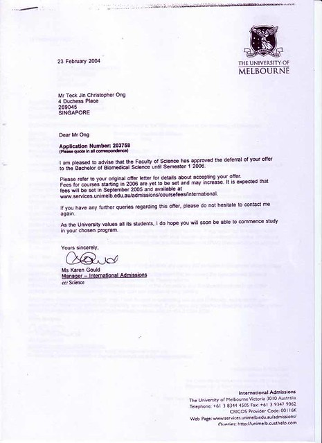 How to write letter for deferring admission