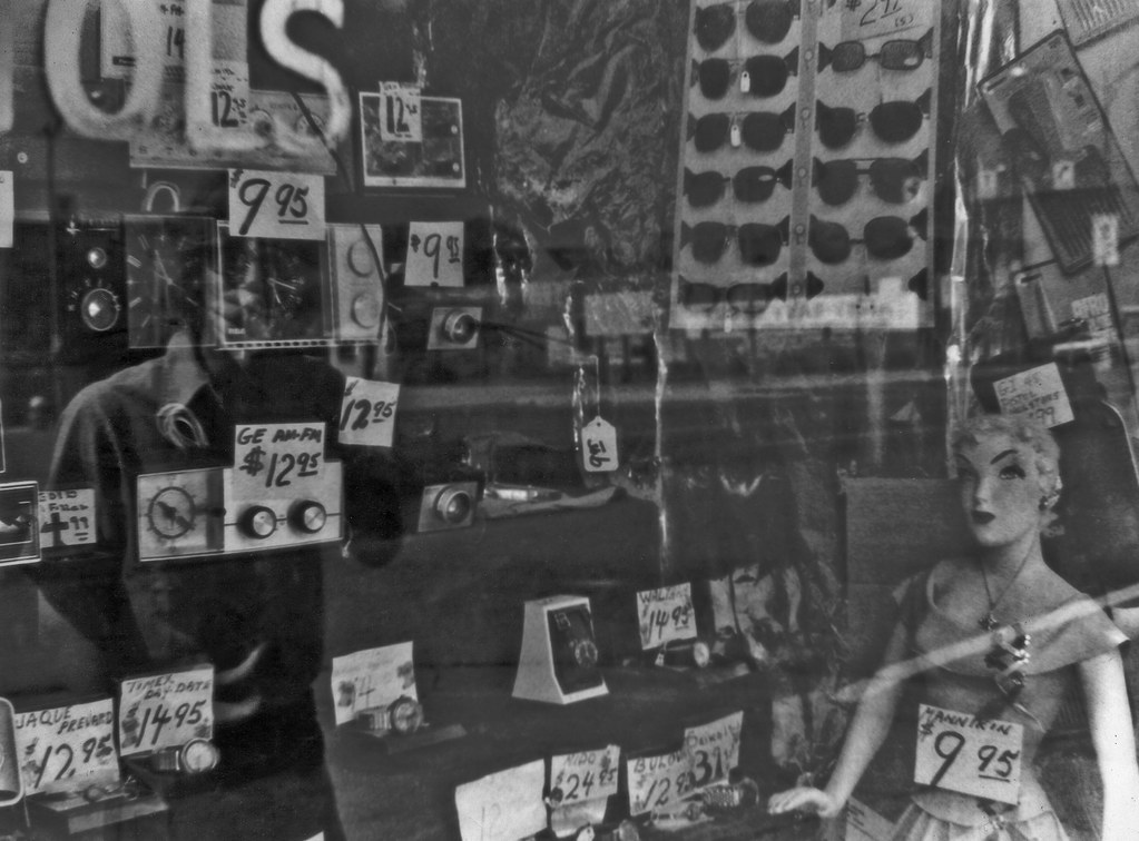 Mannikin, clocks and sunglasses for sale, Augusta, Ga. Broad St., 1970s