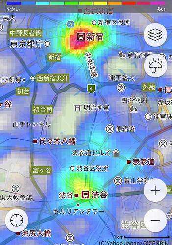 混雑レーダー - ヤフー地図アプリ