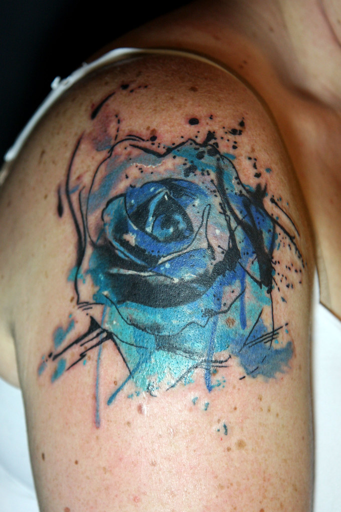 abstract watercolor blue rose tattoo deanna wardin flickr. Black Bedroom Furniture Sets. Home Design Ideas