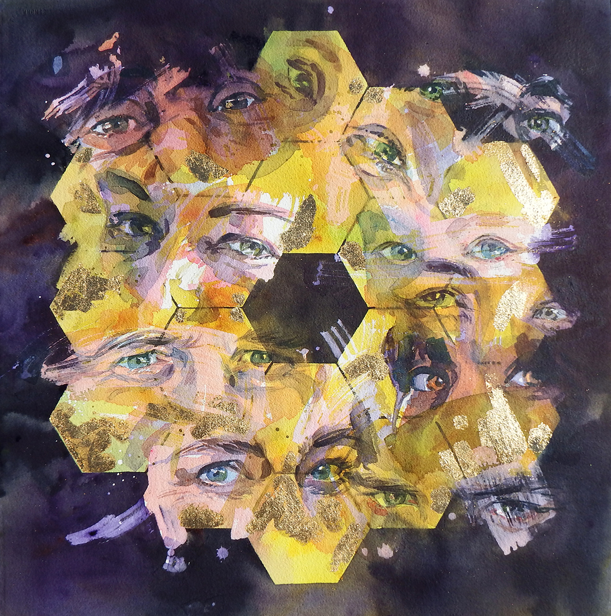 Watercolor tattoo artists in houston texas - Icon Gaze Watercolor And 24k Gold Leaf On Paper The Artist