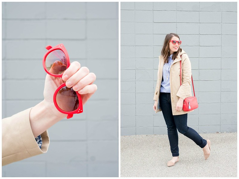 tan J.crew chateau coat + Gap blue white stripe blouse + red Loft sunglasses + Loft jeans + Target suede d'orsay flats + red J.Crew purse; casual spring outfit   Style On Target blog