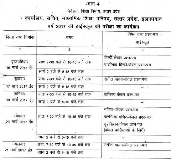 UP Board Class 10 Date Sheet Part 1