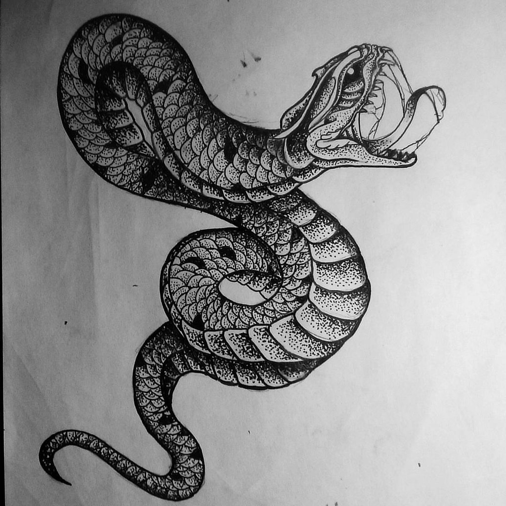 Evil Snake Drawings Draw Sketch Design Tattoodesign Dotwork