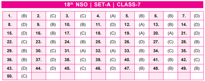 21st NSO 2018 – 2019 Answer Keys – Class 7 – AglaSem Schools