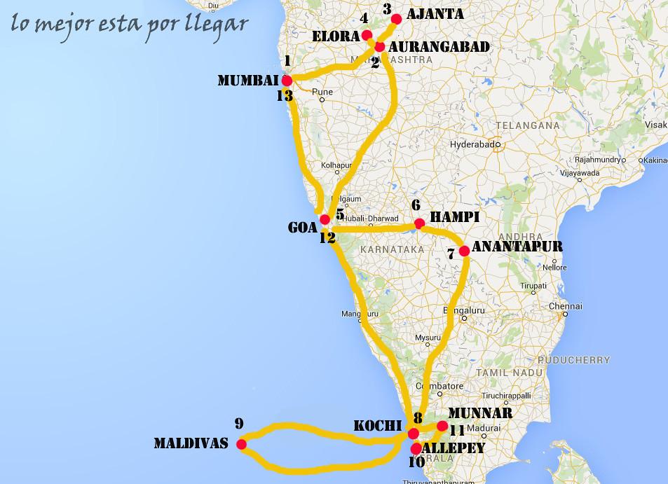 Itinerario 27 días India y Maldivas