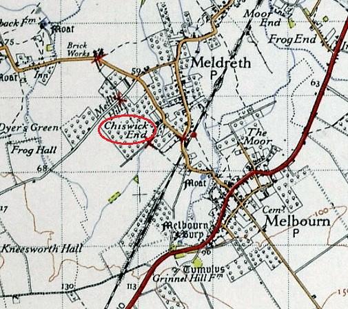 Meldreth ord surv map 1945 color detail