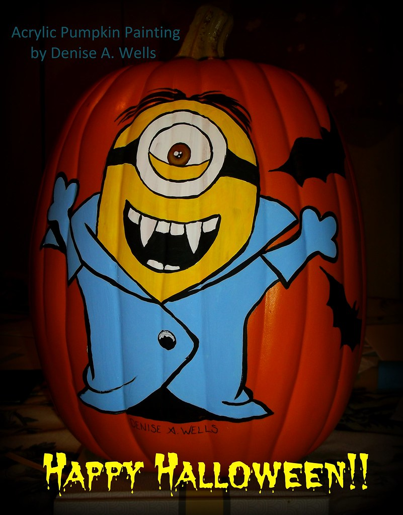 Painted Minion Pumpkins Stuart The Minion Vampire Pumpkin Painting By Denise A We Flickr