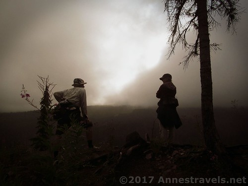 Our man, on left: He and another group member observe the blowing mist along the Mazama Trail near Mt. Hood, Oregon