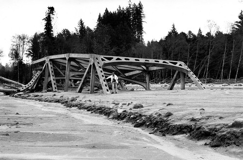 Image shows the trusses of the top of a steel bridge. The rest of the bridge, including the roadbed and most of the sides, is buried in mud. A man is standing atop the deposits beside the bridge, in a place that would have been at least a dozen feet above his head if he'd been standing on the original roadbed.