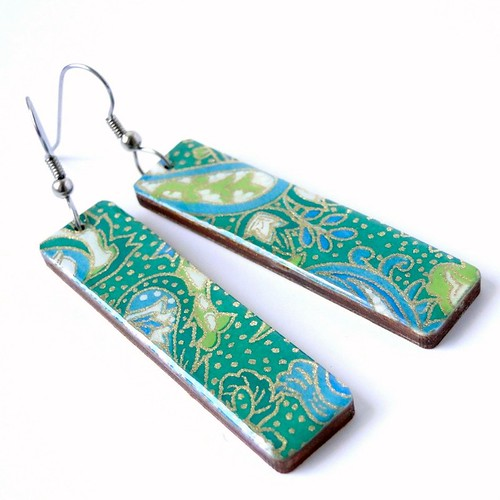 Paisley Green Earrings by Pretty Kiku