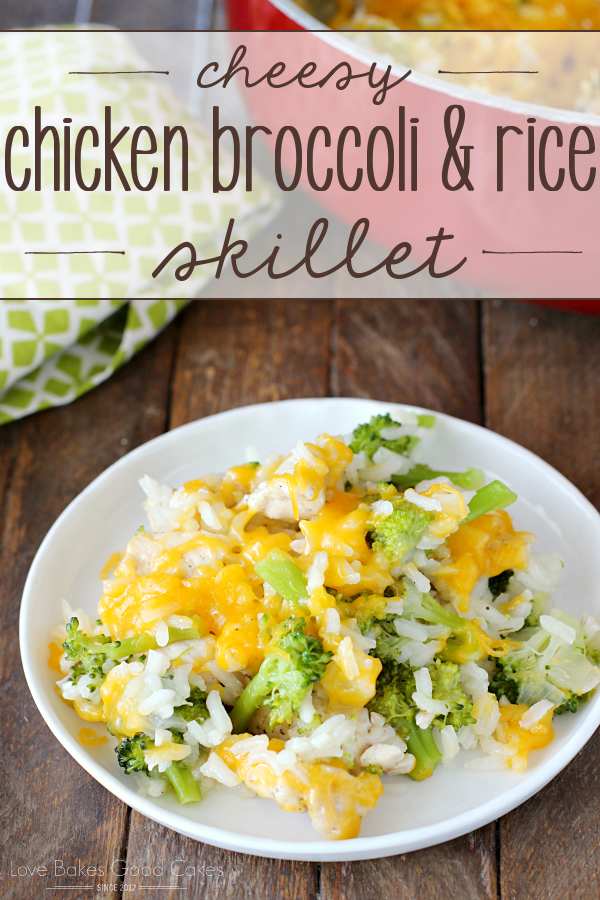 Perfect for those hectic nights, this family-approved Cheesy Chicken Broccoli & Rice Skillet recipe is made in ONE pan - making clean-up a breeze!