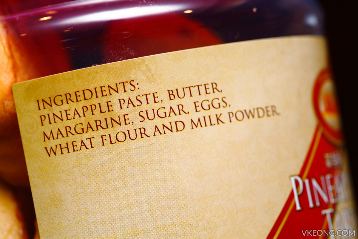 Genting Pineapple Tarts Ingredients