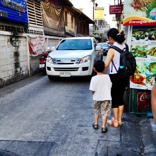 Dodging traffic on a Soi