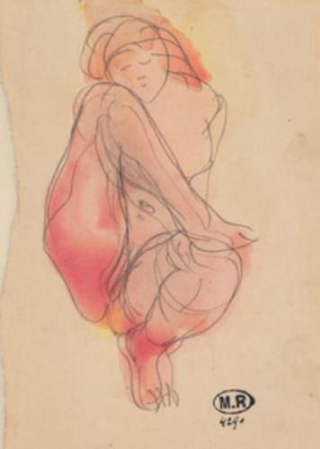 17c18 Femme nu asiste un pie posé de haut sur un genou ca 1890 Lápiz grafito y acuarela Museo Rodin Uti 425