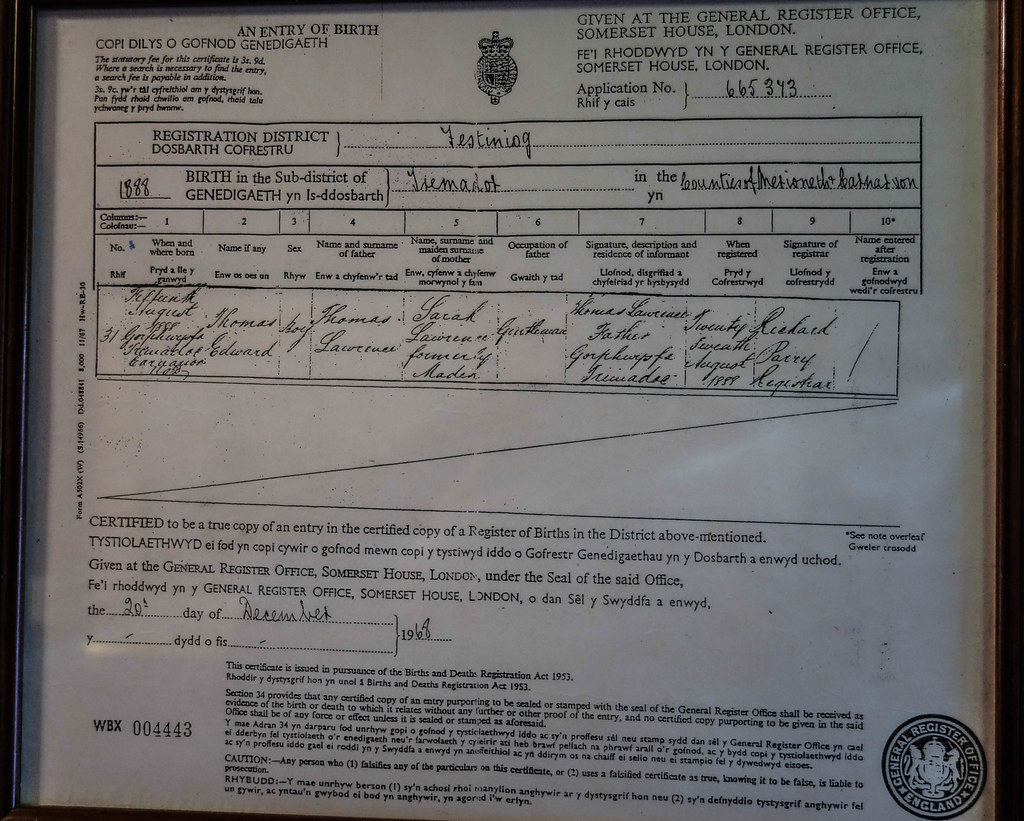 Birth certificate of te lawrence the birth certificate of flickr aiddatafo Choice Image