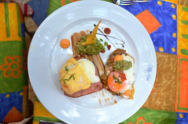 Eggs Benedict and huevos rancheros, Hotel Villa Cortes, Playa de las Americas, Tenerife