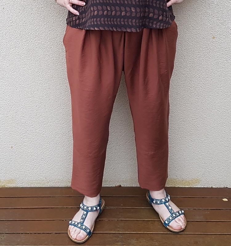 True Bias Ogden Cami in thai cotton gauze with Designer Stitch Lena pants in rayon