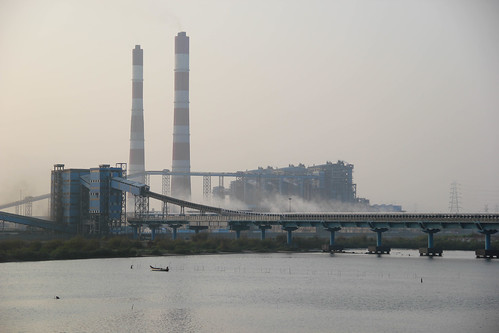 The Ennore creek smothered on all sides by thermal power plants.