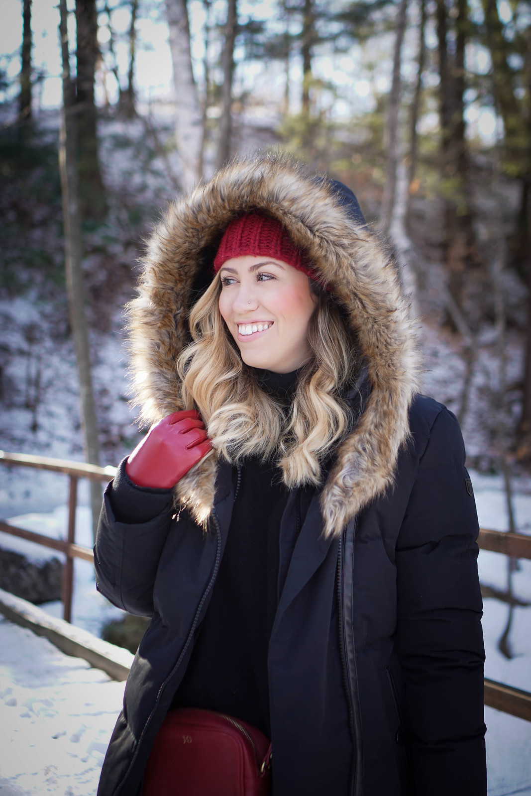 Bundled Up Black & Red Winter Snow Outfit | Noize Down Parka