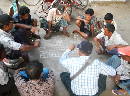 A gambling game on the streets of Yangon, Myanmar