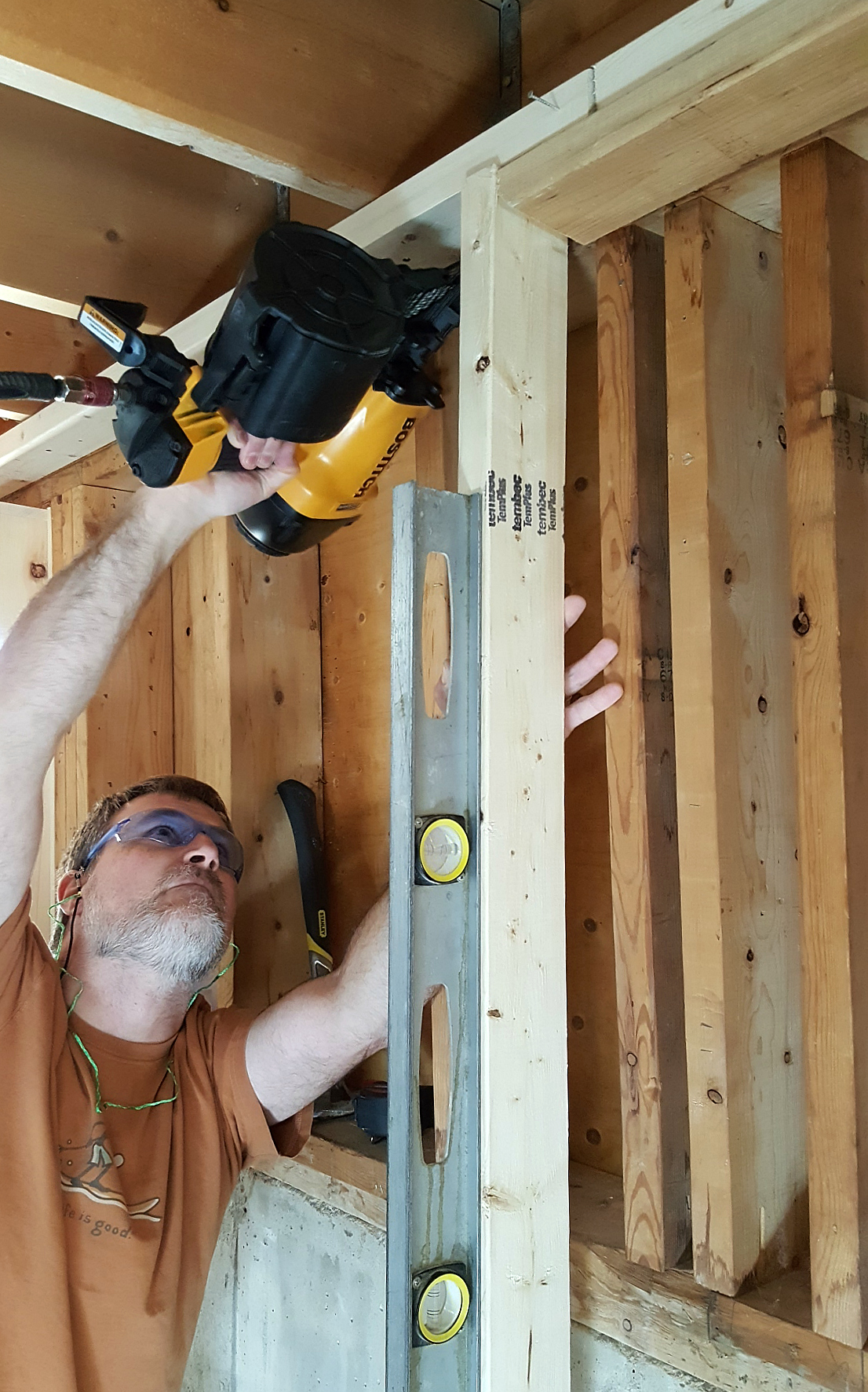 basement framing and spray foam insulation Bostitch framing nailer