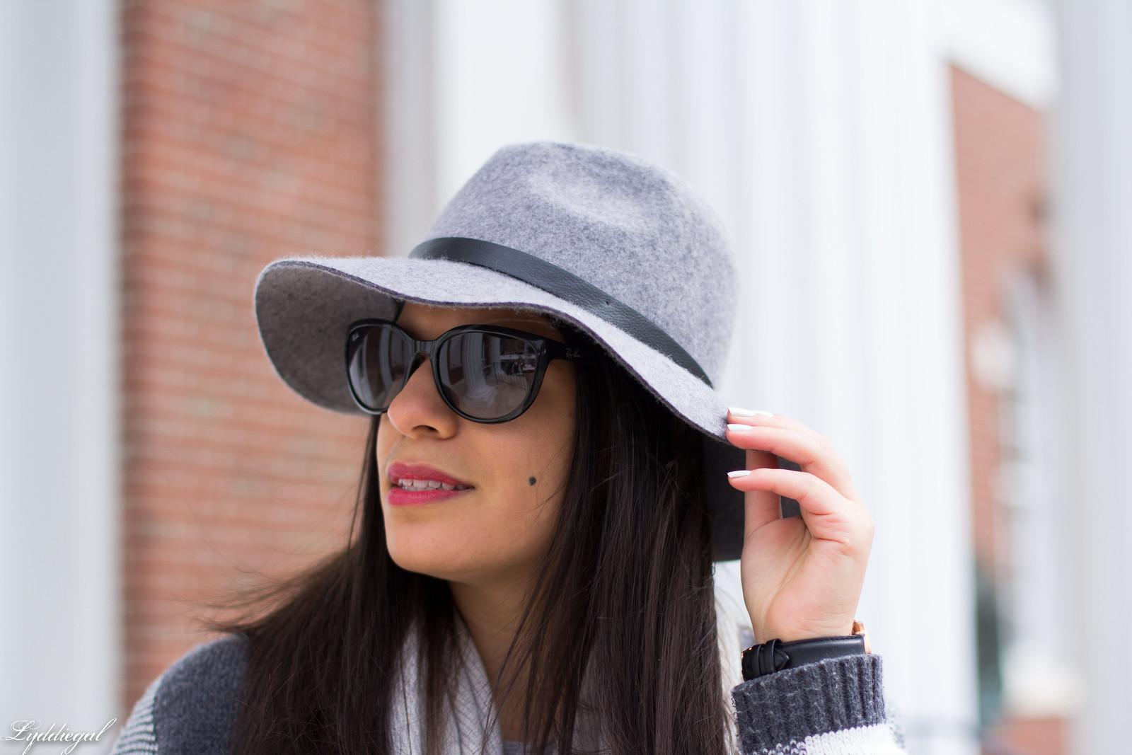 grey plaid cardigan, cashmere scarf, wool hat, grey jeans-8.jpg