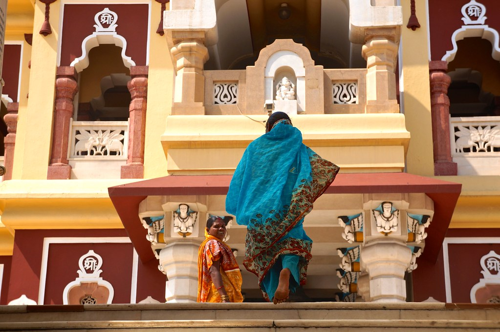 Indian woman heading to the temple