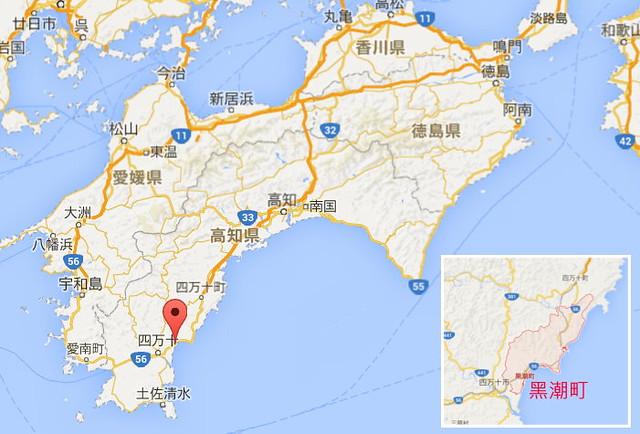 黑潮町位於高知縣,預測最高海嘯可能達34公尺。圖片來源:Google Map