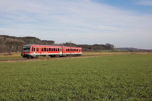 628 646 als Sonderzug von Wasserburg nach Grafing, aufgnommen in Oberndorf