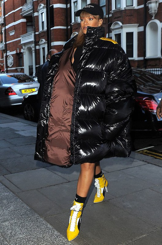 red Moncler 'Maya' jacket, autumn winter hottest outwear, oversized Raf Simons puffer coat, Rihanna in oversized Raf Simons puffer coat, Fenty X PUMA Heeled Leather Boots, RIHANNA X PUMA HIGH HEEL LEATHER RIHANNA, HIGH HEEL LEATHER SNEAKER, yellow HIGH HE