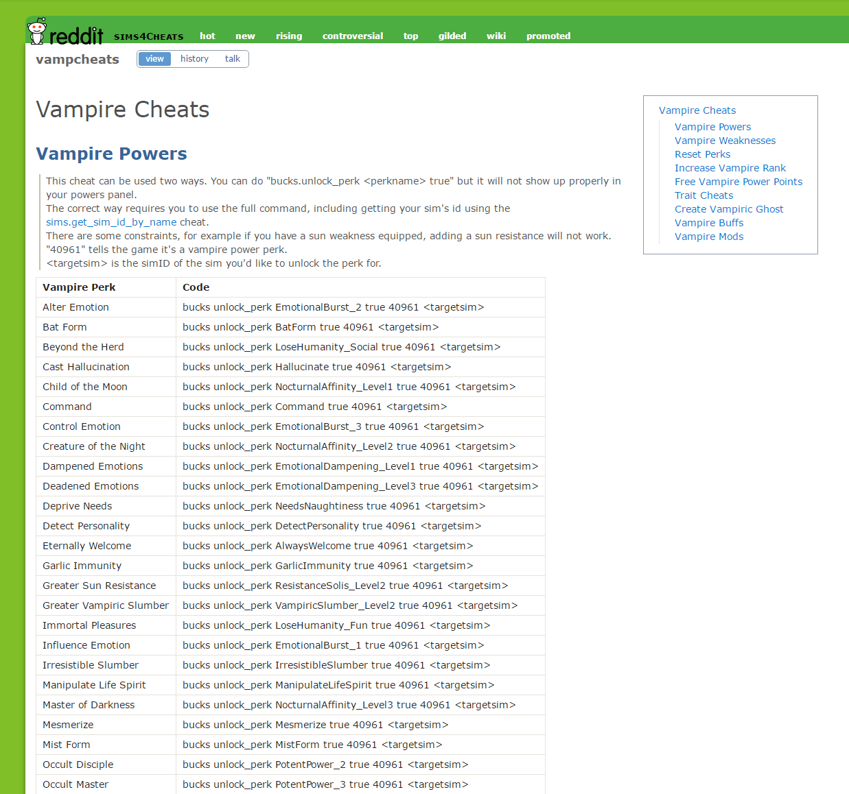 The Sims 4 Vampires: Cheat Sheet Master List by TwistedMexi