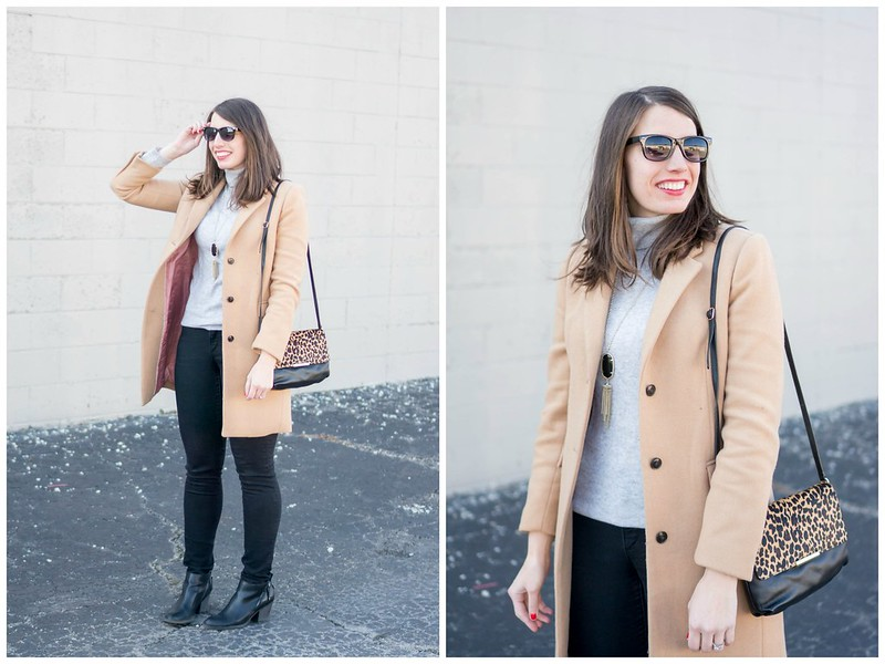 gray turtleneck + camel tan winter coat + black jeans + leopard print coat; casual neutral winter outfit Style On Target blog