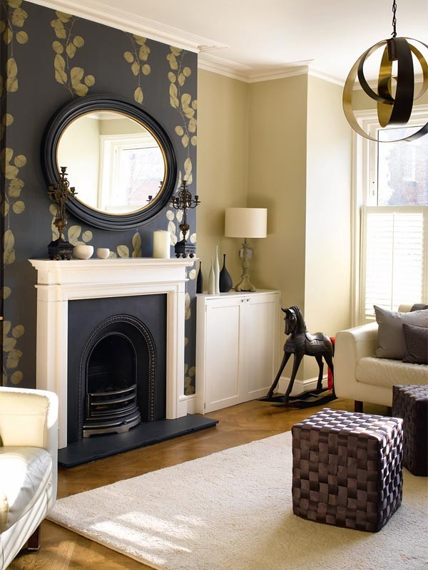 Wallpaper Fireplace with Large Mirror Over Mantle