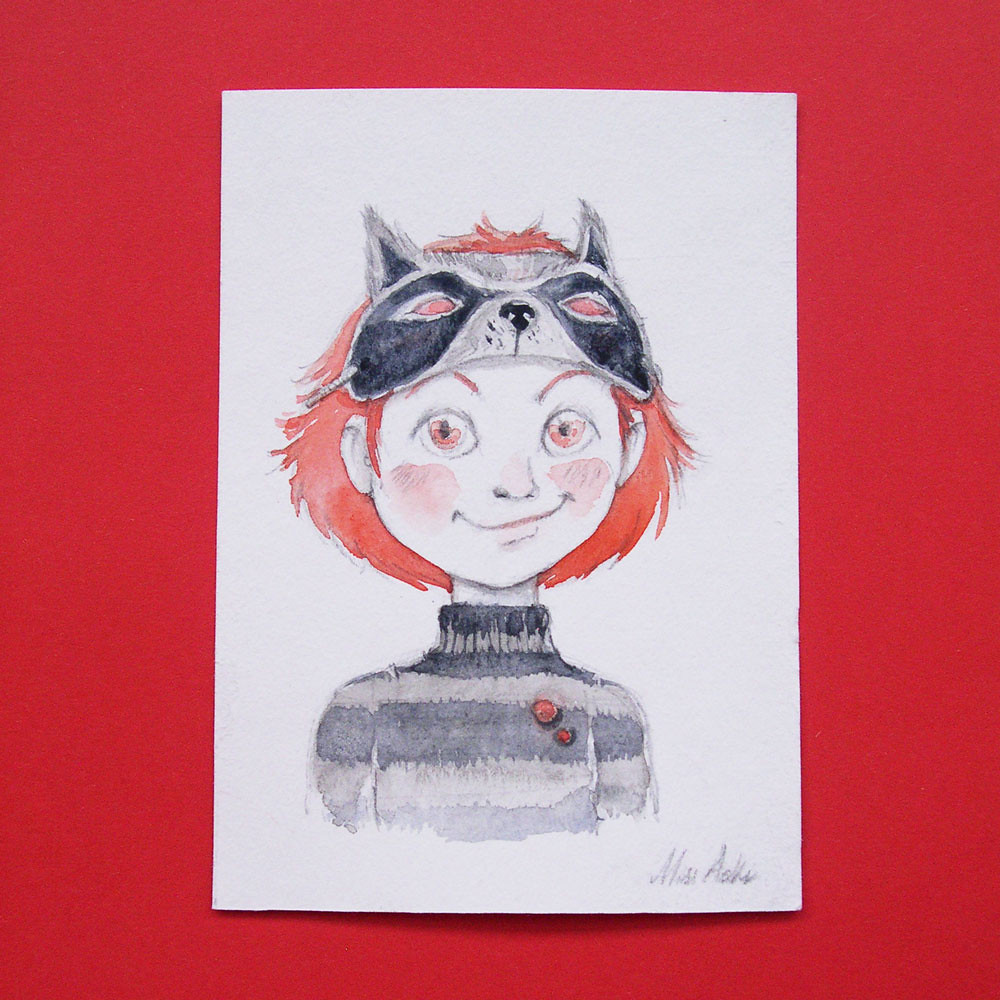 Raccoon mask | Original Illustration (No print) ◇ Technique