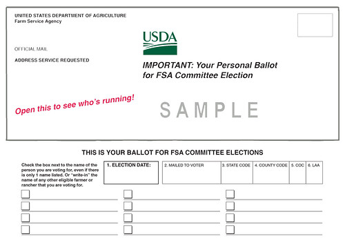 Sample FSA County Committee election ballot