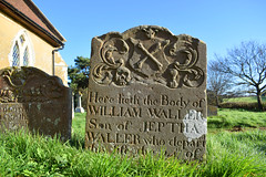 William Waller: crossed bones on shield above skull and hour glass flanked by foliage