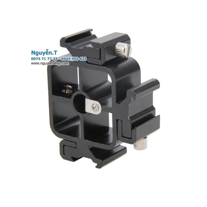 Gá adapter hot shoe 3 đèn flash tripod