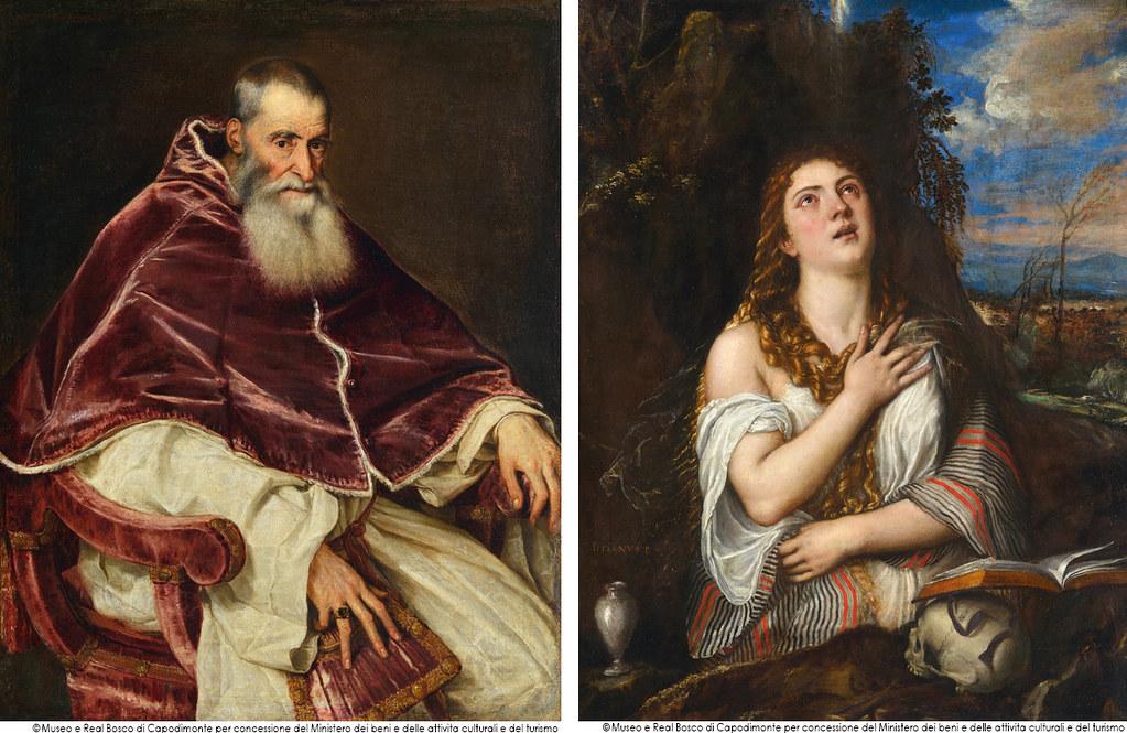 左)ティツィアーノ・ヴェチェッリオ《教皇パウルス3世の肖像》(1543年、ナポリ・カポディモンテ美術館蔵) 右)ティツィアーノ・ヴェチェッリオ《マグダラのマリア》(1567年、ナポリ・カポディモンテ美術館蔵)