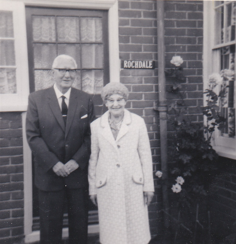 Bert and Madge Elkins outside their house, probably 1970s.