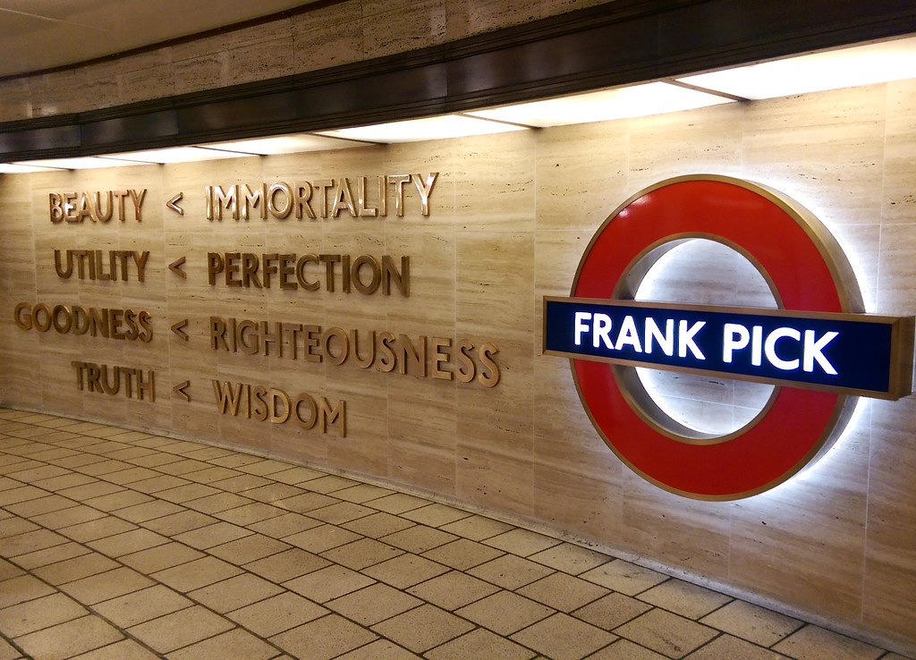 This is a picture of the frank pick wall memorial at Piccadilly circus station