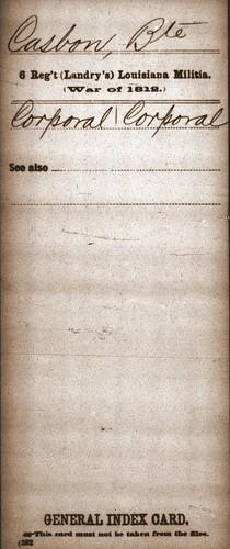Bte Casbon War of 1812 index card