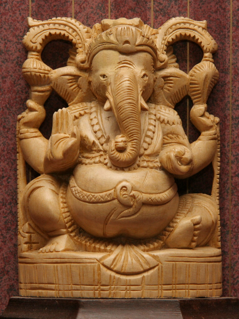 Wood Carving Of God Ganesh From Kerala India Brian