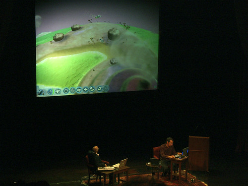 Brian Eno with Will Wright demo'ing SPORE | by monsieur paradis