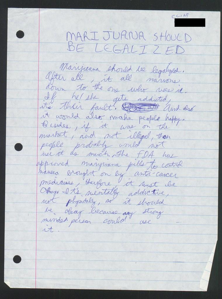 8th Grade 1988 Schoolwork Paper Marijuana Should Be