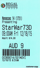 Star Wars: The Force Awakens ticketstub