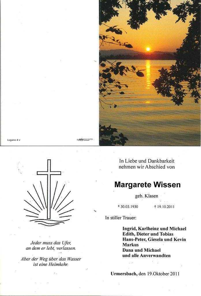 Totenzettel Wissen, Margarete † 19.10.2011