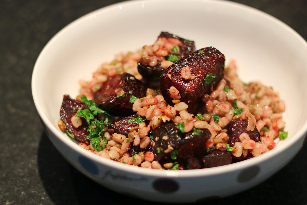 Beetroot & barley salad in bowl